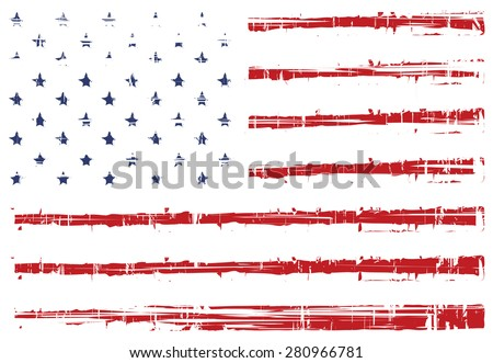 vector grunge texture flag of United States America - stock vector