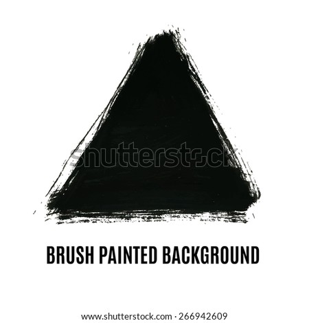 Vector Grunge Triangle Painted Background. Artistic brush banner for your text. Can be used as distress texture  template, label, badge or frame, isolated, black on white - stock vector