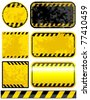 Vector grunge warning strips set. - stock photo