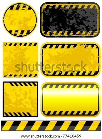 Vector grunge warning strips set. - stock vector