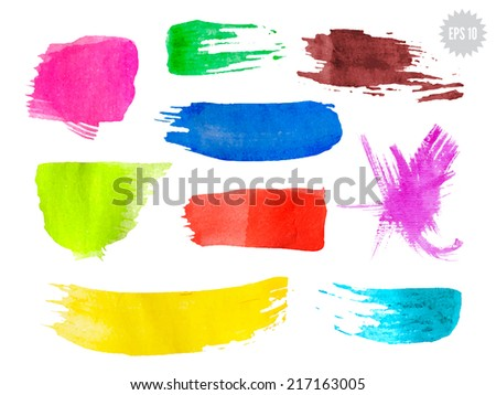 Vector grunge watercolor background set. Multi purpose design elements. - stock vector