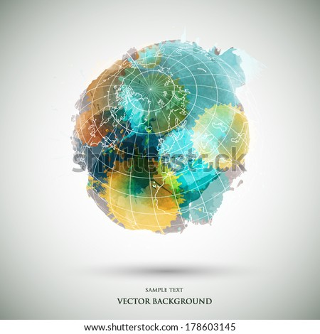 Vector grunge watercolor colored earth - stock vector