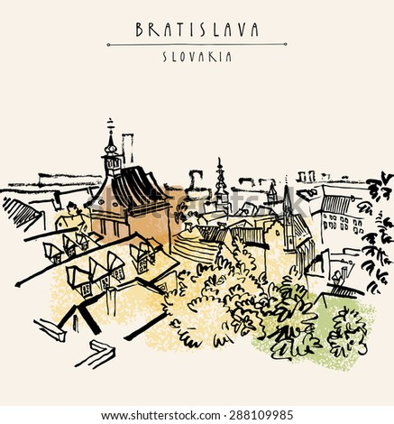 Vector grungy artistic illustration postcard with a touristic city view of Bratislava, Slovakia, Europe. Black ink brush line. Greeting card design template. Retro style sketch. Roofs, trees, sky