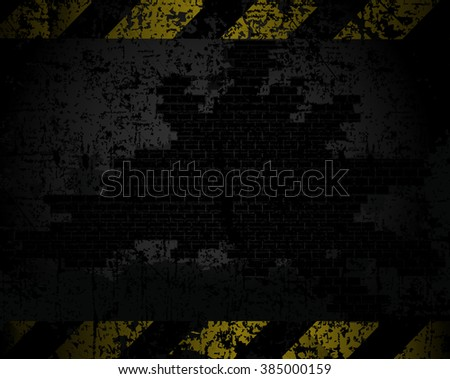 vector grungy background texture of an old brick wall with black and yellow lines at a distance horizontally warning of danger - stock vector