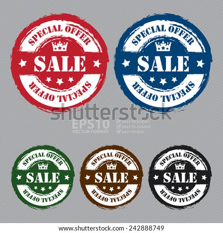 Vector : Grungy Circle Sale Special Offer Sticker, Icon or Label - stock vector