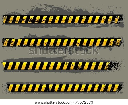 Vector grungy hazard stripes. - stock vector