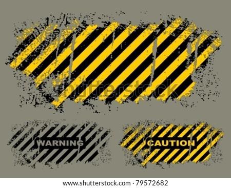 Vector grungy hazard stripes texture. - stock vector
