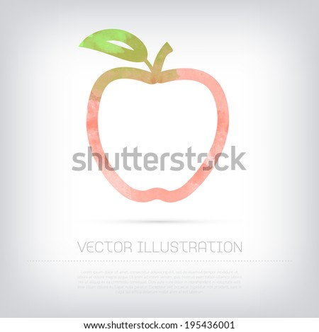 Vector grungy textured watercolor red apple contour icon - stock vector