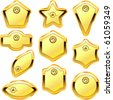 Vector guarantee label set. Gold collection. - stock vector