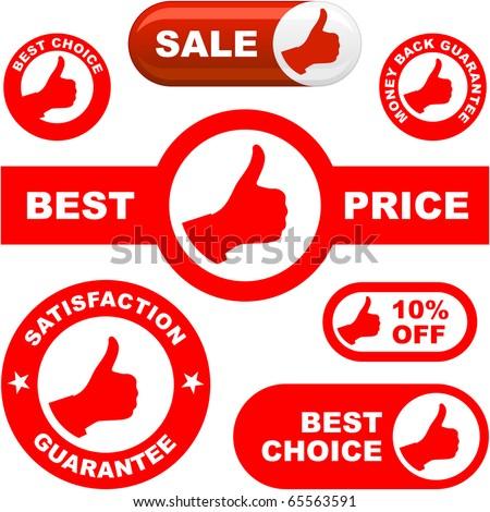 Vector guarantee signs. - stock vector
