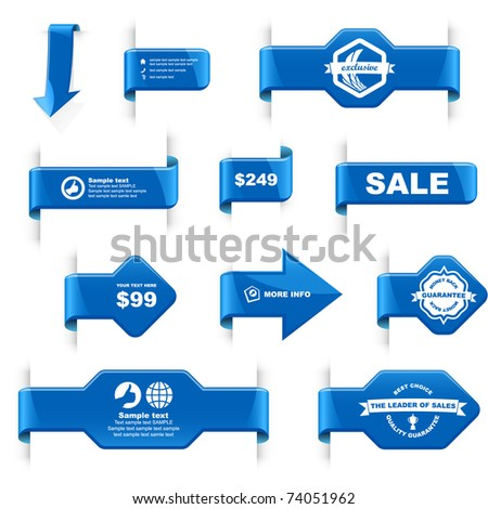 Vector guarantee sticker set. Blue label, tag and coupon for sale.