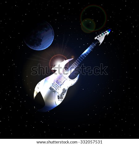 Vector guitar in space on background of the moon against the stars and the moon, the gradient runs at the facilities of uneven waves.It can be used as a poster, advertising or separately.