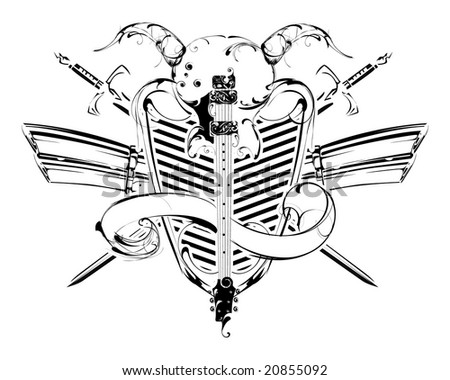 vector guitar on the shield with banners and horns