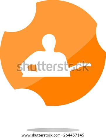 vector guitarist web icon button isolated on white - stock vector