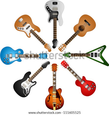 vector guitars circle - stock vector