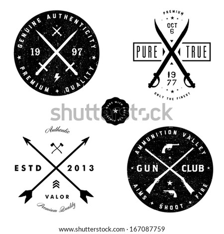 Vector gun and arrow badge set. Easy to edit.  - stock vector