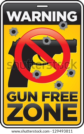 Vector Gun Free Zone street and building sign shot full of bullet holes.