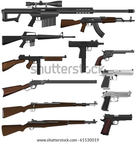 vector guns - stock vector
