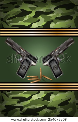 vector guns with bullets, related to Victory Day or 23 February  - stock vector