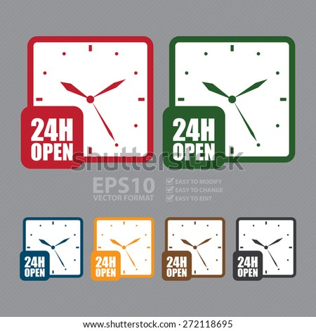 Vector : 24H Open, Open 24 Hours or Service 24 Hours Label, Sign or Icon - stock vector