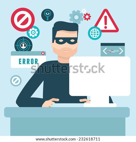 Vector hacker illustration in flat style - password and data thief - stock vector