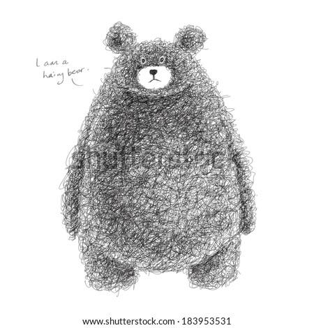 Vector Hairy Bear - stock vector