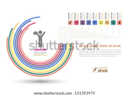 Vector half circle arrows business concepts with  icons / can use for info-graphic / loop business report or plan / modern template / education template / business brochure /  system diagram - stock vector