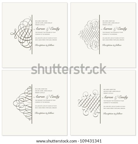 Vector Half Ornament Frame Set. Easy to edit. Perfect for invitations or announcements. - stock vector