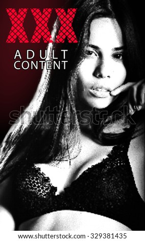Vector halftone banner with xxx and woman for adult design - stock vector