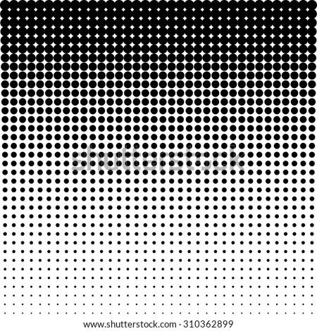 Vector halftone dots - Black - stock vector