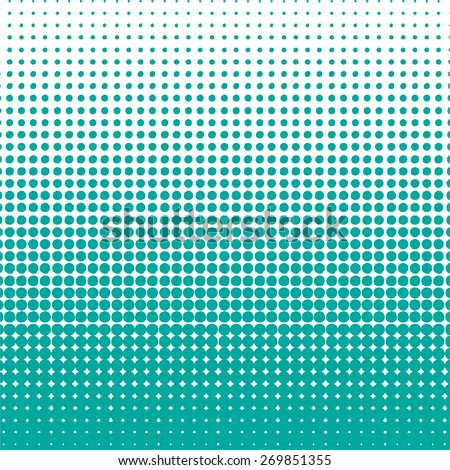 Vector halftone dots. Green dots on white background. Vector illustration. - stock vector
