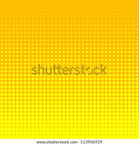 Vector halftone dots. Yellow dots on yellow background. - stock vector