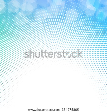 Vector halftone dotted mosaic with sun flares and bokeh - stock vector