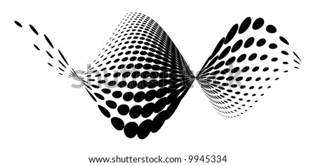 Vector halftone wave - stock vector