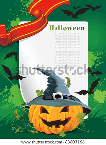 Vector Halloween background with pumpkin and bat. Abstract Classical autumn card with Place for your text. - stock vector