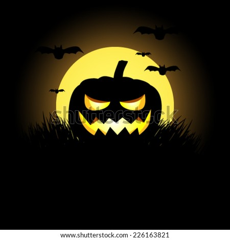 Vector halloween background with pumpkin lantern and bats, illustration - stock vector