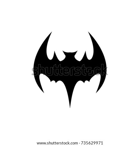 Vector Halloween Black Bat Animal Icon Or Sign Isolated On White Background Silhouette