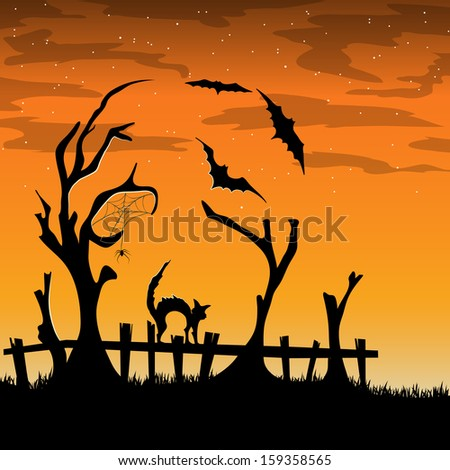 Vector halloween card with trees