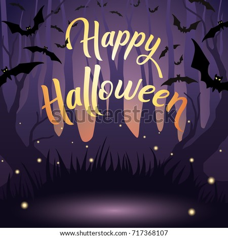 Vector Halloween Design For Banner, Poster, Cover, Template, Card. Holiday  Night