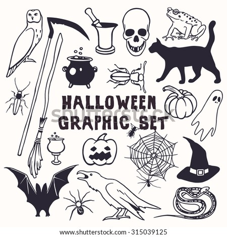 Vector Halloween graphic set. Vector collection of hand drawn creepy and comic images. Beautiful design elements. - stock vector