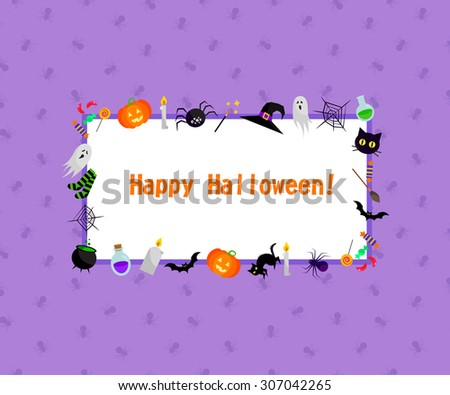 Vector halloween greeting card. Elements for design. Orange, black, purple, white, green colors. - stock vector