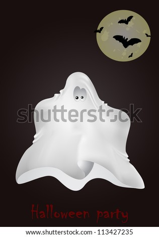 Vector Halloween greeting card with ghost