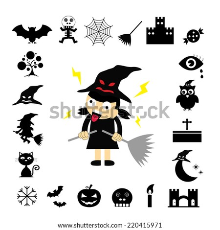 vector halloween icon set on white background
