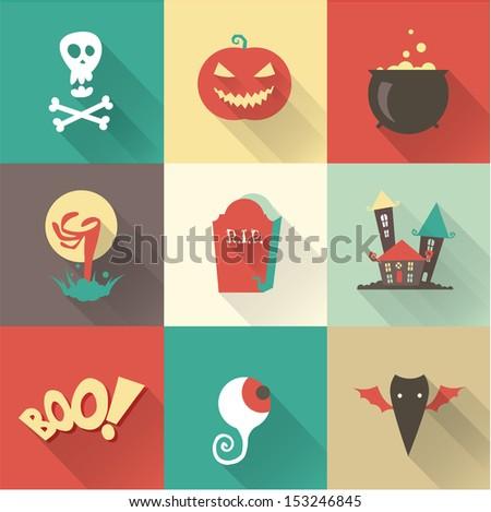 Vector halloween icons - stock vector