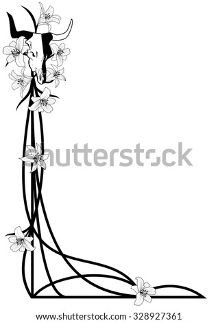 vector Halloween illustration for corner design with bull skull and lilies - stock vector