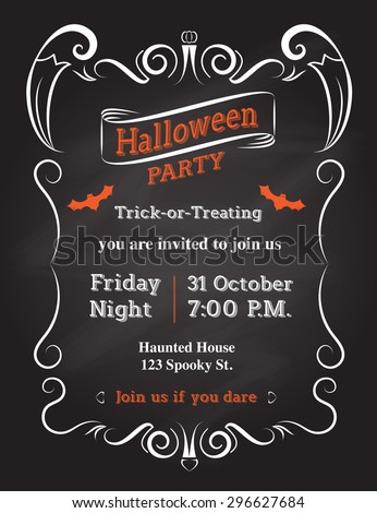 Vector Halloween Invitation Card To Party With Vintage Ornament Frame On Black Background Holiday