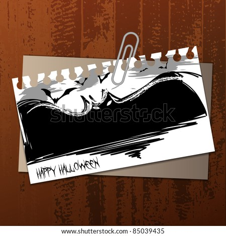 Vector Halloween Label Concept on Wooden Surface - Flying Bats Drawn To a Torn Notepaper, Clipped to an Envelope  - stock vector