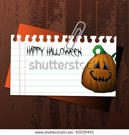 Vector Halloween Label Concept on Wooden Surface - Smiling Pumpkin Drawn To a Torn Notepaper, Clipped to an Envelope - stock vector