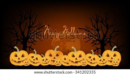 vector halloween night with smile pumpkin head  - stock vector