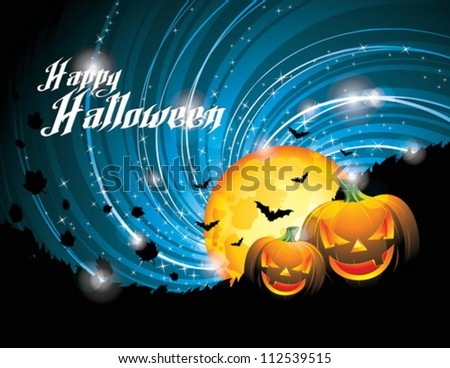 Vector Halloween Party Background with Pumpkins and Moon. EPS 10 illustration. - stock vector
